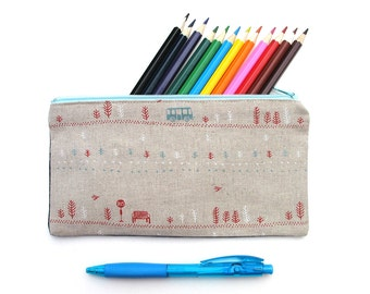Bus Stop PENCIL CASE zippered pouch . Handmade . Ladies, Adult, Teen . Birthday Christmas Gift Idea