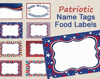 Patriotic Name Tags, Good Labels, 4th of July Decor, Instant Download, Printable Labels
