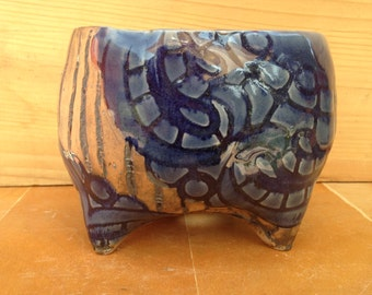 Blue Lace Textured Ceramic Planter