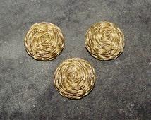 Vintage Soutache French Buttons Classy, Passementerie, Set of 3 Gold