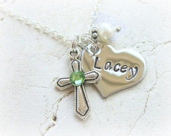 Baptism Gift.First Communion Gift Girl.Children's Birthstone Cross Necklace. Girl's Name Necklace & Pearl Charm Necklace.Birthstone Jewelry