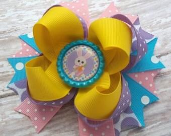 Easter Bunny Hair Bow, Handmade Easter Hair Bow, Easter Bunny Hair Clip, Boutique Hair Bow