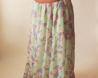 High Waisted Chiffon Maxi Skirt | Burnt Orange & Mint Floral Print Ruffle Maxi Skirt | High Waist Maxi Skirt | Upcycled Bohemian Skirt