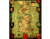 WESTEROS Map 1M- Handmade Leather Wall Hanging - 16x12