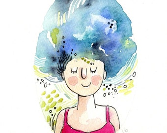 Watercolour Original, Girl Art, Blue Hair 4 x 6  Painting