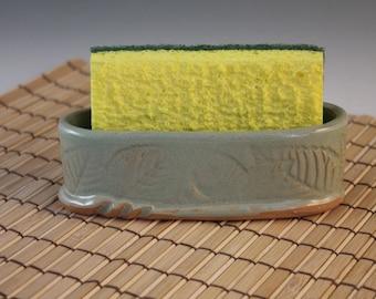 Sponge Holder - green with leaf imprint
