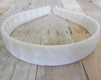 White Woven Headband Girls Headband Wedding Headband Easter Headband First Communion headband Church headband