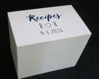 Personalized Recipe Box, Custom Recipe Box, Wooden Recipe Box, Recipe Storage Box, 4X6 or 5X7 Recipe Box, Shower Gift, Wedding Gift