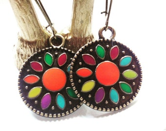 Brass Earrings with pretty colors