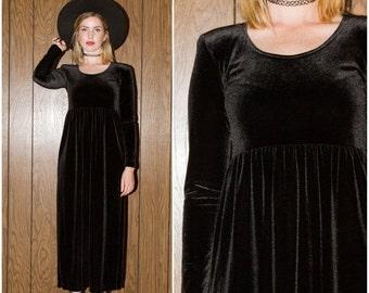 SALE Vintage 80s 90s Club Kid Raver Goth Grunge Black Velvet Full Length Babydoll Dress Small