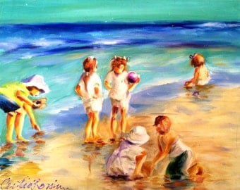 Art Print of CHILDREN AT the BEACH, blue and purple pastel colors, sea painting, oil on canvas