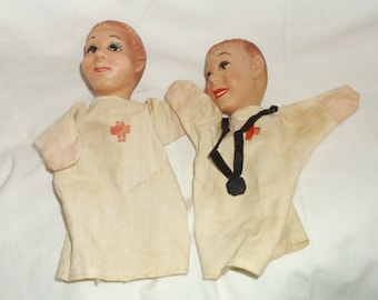Vintage Pair Doctor & Nurse Hand Puppets Rubber Heads