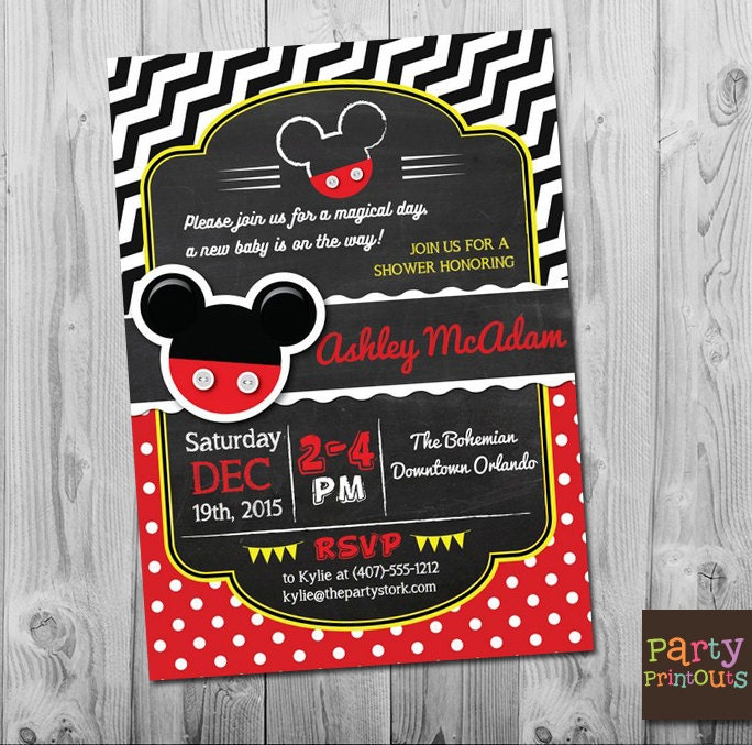 This is an image of Decisive Mickey Mouse Baby Shower Invitations Printable