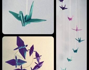 Purple and Blue Ombré Origami Crane Mobile