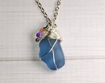 SALE...Blue Sea Glass Necklace Authentic Beach Glass Jewelry Gift For Sister Mom Friendship Gift