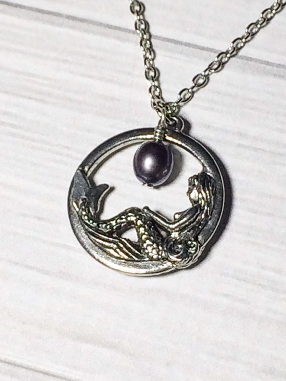 Mermaid Necklace Purple Peacock, Bridesmaid Necklace, Summer Wedding