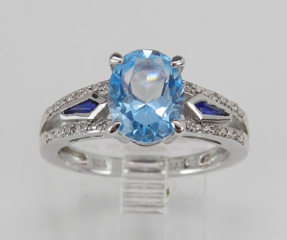 Blue Topaz Sapphire Diamond Engagement Ring Promise Birthstone Ring White Gold Size 7