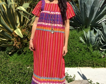 Vintage Guatemalan Handwoven Cotton Maxi Dress 1970s