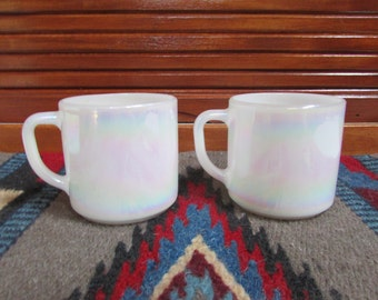 Iridescent Fire King Mugs Set 2 Vintage White