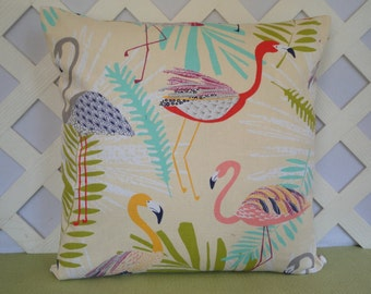 Colorful Flamingos Pillow Cover in  Orange Peach Yellow Aqua Cream / Flamingo Pillow / Accent Pillow / 18 x 18 Pillow