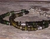 Multi Strand Tourmaline Gemstone Sterling Silver Bracelet, Rustic Charm Bracelet, Sundance Style Jewelry