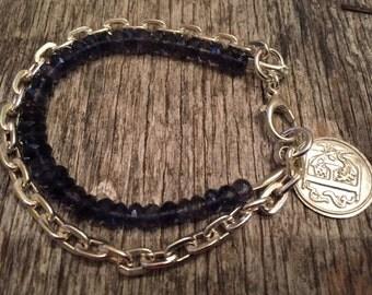 Blue Sapphire - Heavy Sterling Silver Chain & Link Bracelet - Fine Silver Initial Charm - Rustic Boho Sundance Style Jewelry