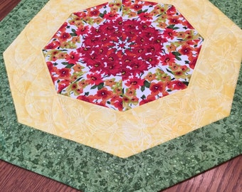 Table Topper, Quilted Table Topper, Handmade Table Topper, Kaleidoscope Topper
