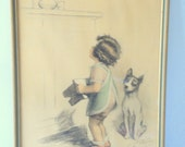 "SALE Vintage Georges Redon Framed Print ""La Hausse du Sucre"""
