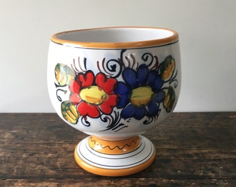 Vintage Italian Pottery Compote, Hand Painted