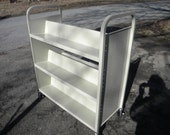 great shape clean vintage SANDUSKY double sided library ROLLING BOOK shelf cart