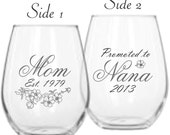 Mom Baby Announcement Wine Glass with Promoted to Grandma and our exclusive Cherry Blossom art