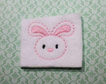 Bunny face feltie, white felt w/ light pink nose and outline, felt stitchies,  4 pieces for hair accessories, scrapbooking, or crafts