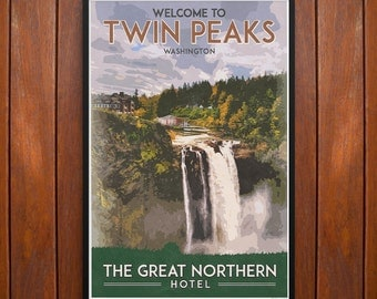 Twin Peaks Poster or Framed Print, Great Northern Hotel Travel