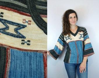 1970s Vintage 3/4 Bell Sleeve Chimayo Print Space Dye Colorblock Color Block Sweater Top Blouse / Hippie Blue & Grey Knit Jumper / Medium M