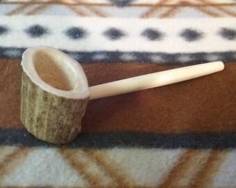 Antler Bone Pipe - Pocket Pipe - Personal Pipe - Antler Pipe - Tribal Pipes - Handmade - Elusive Wolf