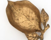 Bronze / Brass Leaf Dish, Vintage Hollywood Regency Home Decor Accents