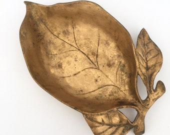 Bronze / Brass Leaf Dish, Vintage Hollywood Regency Home Decor Accents