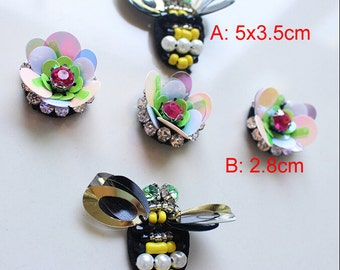 10-15pcs 2.8-5cm wide bees flowers sequins Rhinestones beads appliques patches brooches 41YU5613 free ship