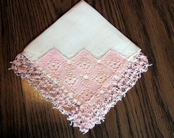 Ladies Hankie with Pastel Pink Crocheted Trimmed Edge