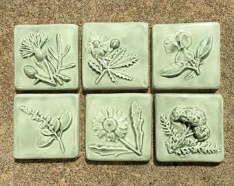 Ceramic Accent Tile -- Little Flowers Set of 6 in Green Tea Glaze, Nature Accent tile, Sage Green, 2x2 Accent tile, floral tiles
