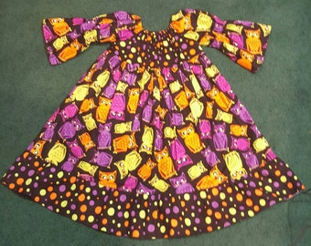 Custom Boutique Halloween Owl and Polka dots Peasant Ruffle Dress Resell 6