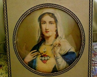 Vintage Immaculate Heart of Mary Frame