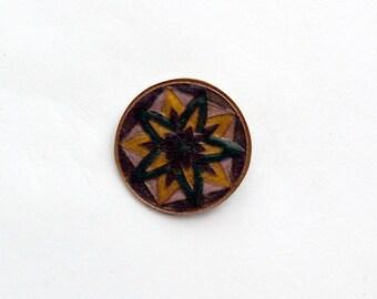 Green, Navy, Gold and Silver Mandala Brooch