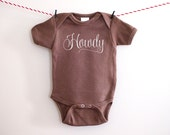 Howdy Country Western Cowboy Shirt Newborn to 3 Months Baby Bodysuit Brown one piece Baby Newborn Outfit Embroidered Baby Shower Baby Gift