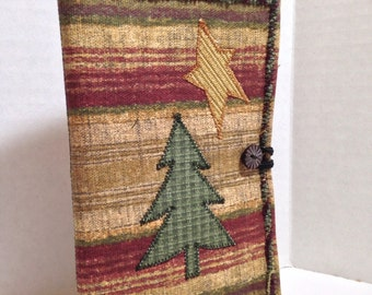 Tree, star multicolor quilted notebook holder