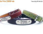 WINTER SALE 15% off Laser Engraved Personalized NamePlate Italian Leather Dog Collar