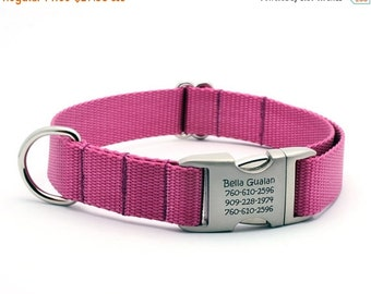 WINTER SALE 15% off Laser Engraved Personalized Buckle Webbing Dog Collar - ROSE