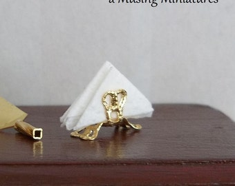 Gold Filigree Napkin Holder in 1:12 Scale for Dollhouse Miniature Dining Banquet