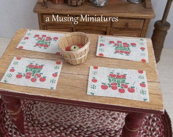 NEW Apple Placemats in 1:12 Scale for Dollhouse Miniature Country Summer Kitchen