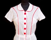 1930s Dress // Red Polka Dot Ric Rac Trim Cotton Day Dress